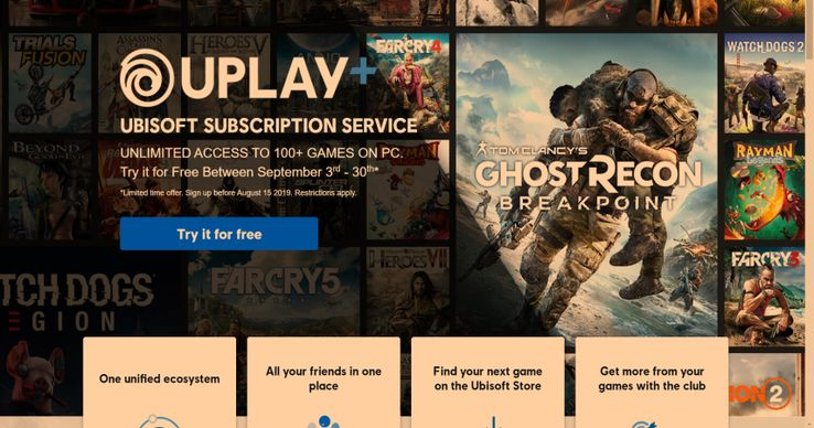 Ubisoft's UPLAY+ Begins With A Free Month | TheGamer