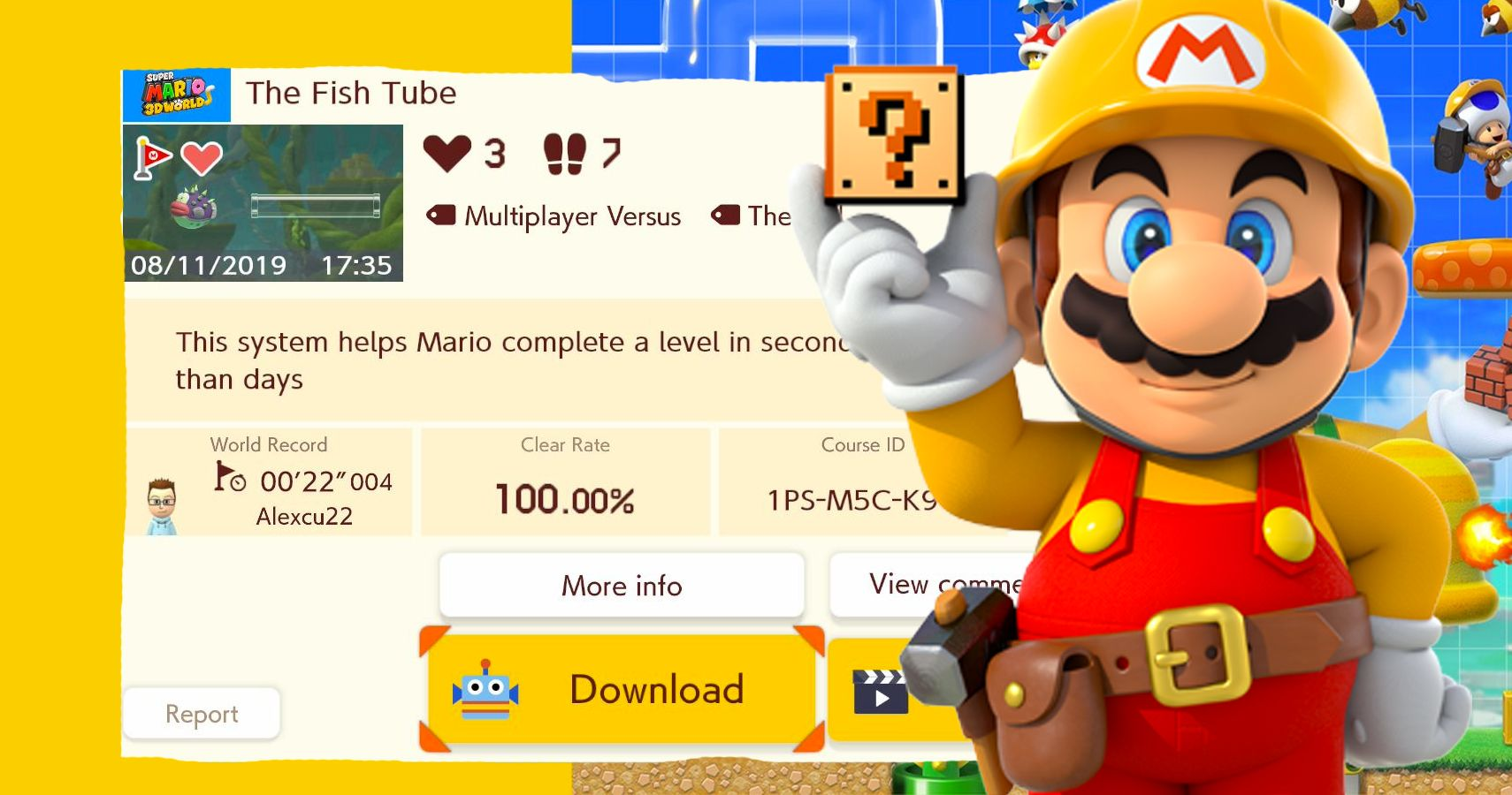 Someone Turned The Fish Tube Into A Mario Maker 2 Level