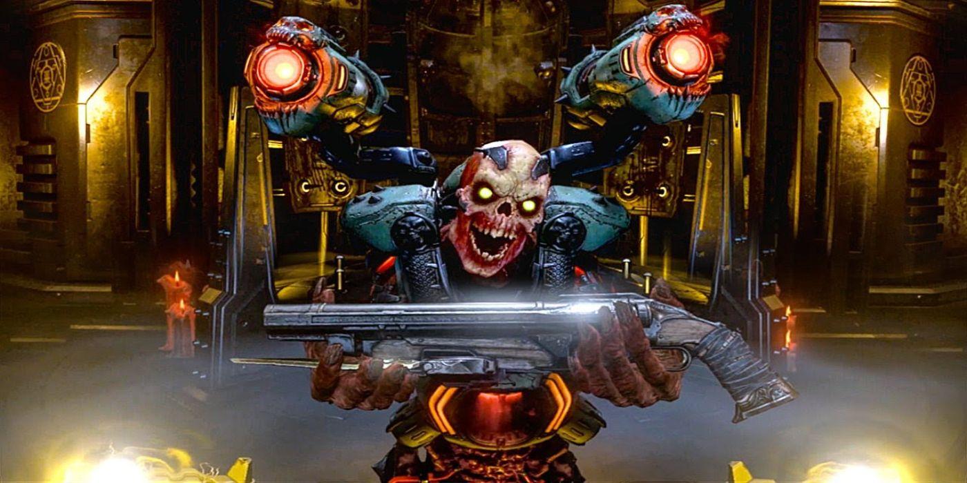Doom Eternal - Revenant handing the Doomslayer a double barrelled shotgun